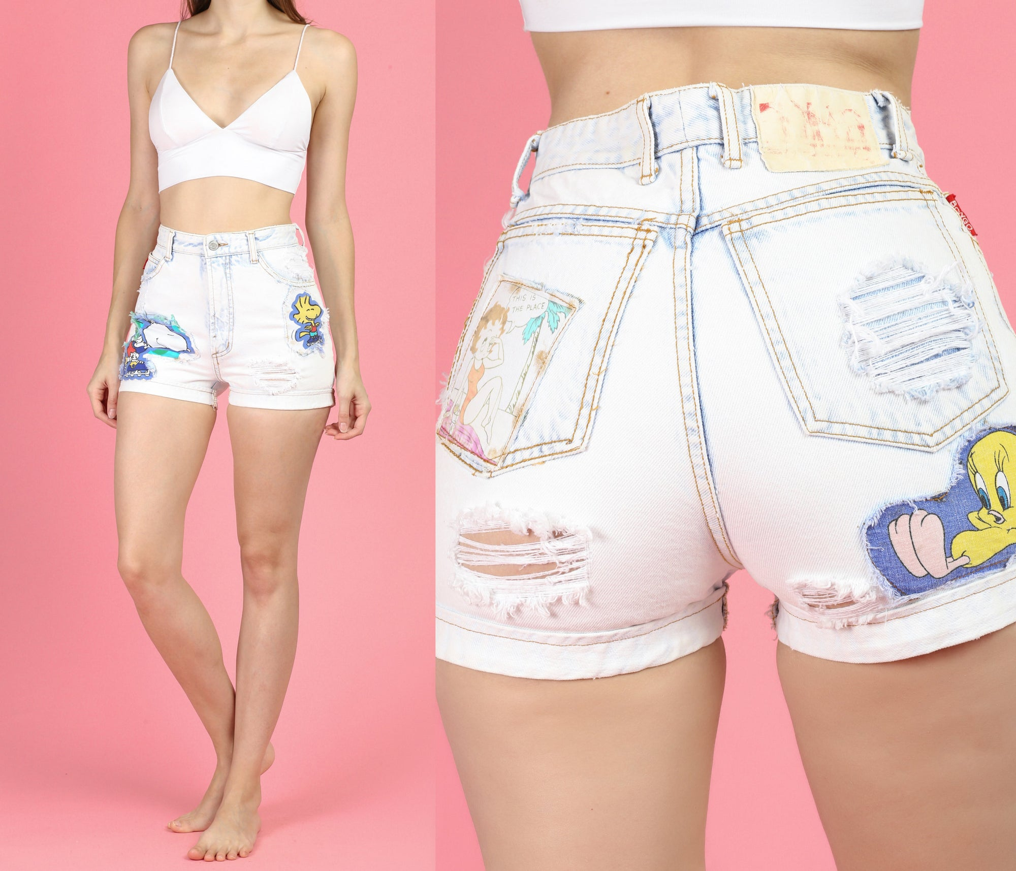 Vintage Bongo Cartoon Patch Jean Shorts - Small