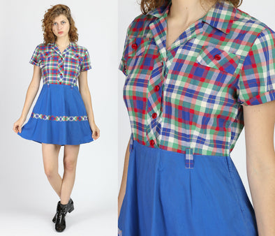 1950s Plaid Fit & Flare Mini Dress - Medium