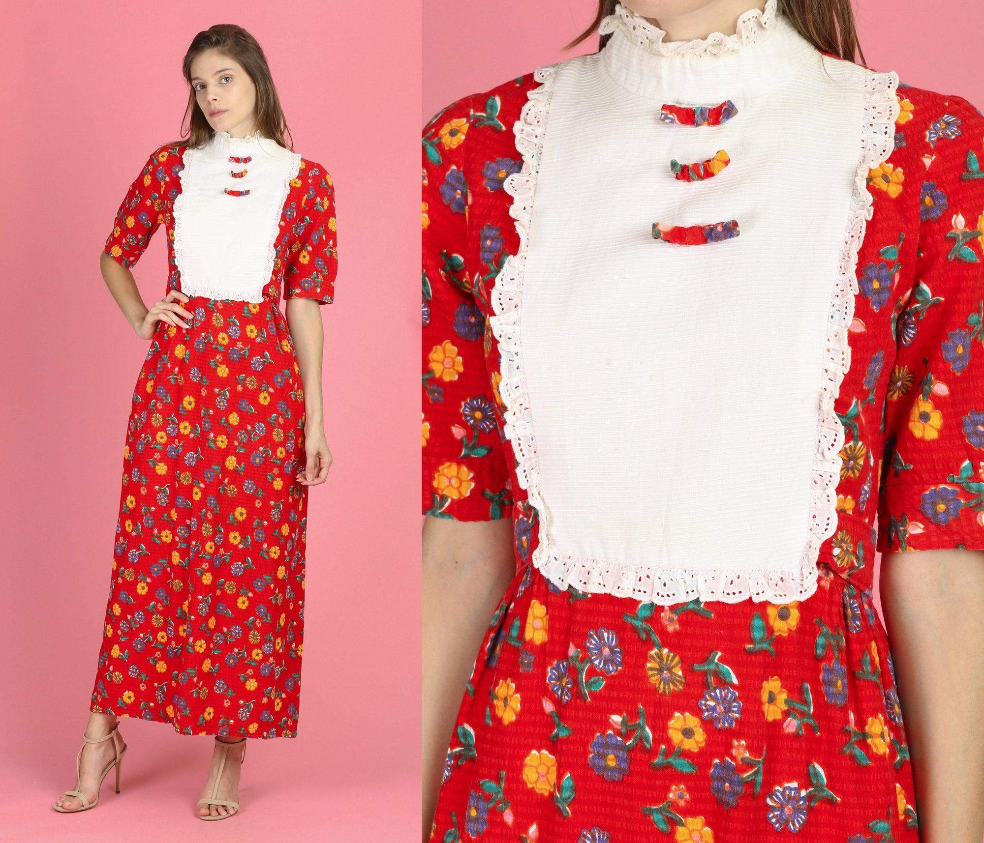 60s Red Floral Tuxedo Bib Maxi Dress - Small