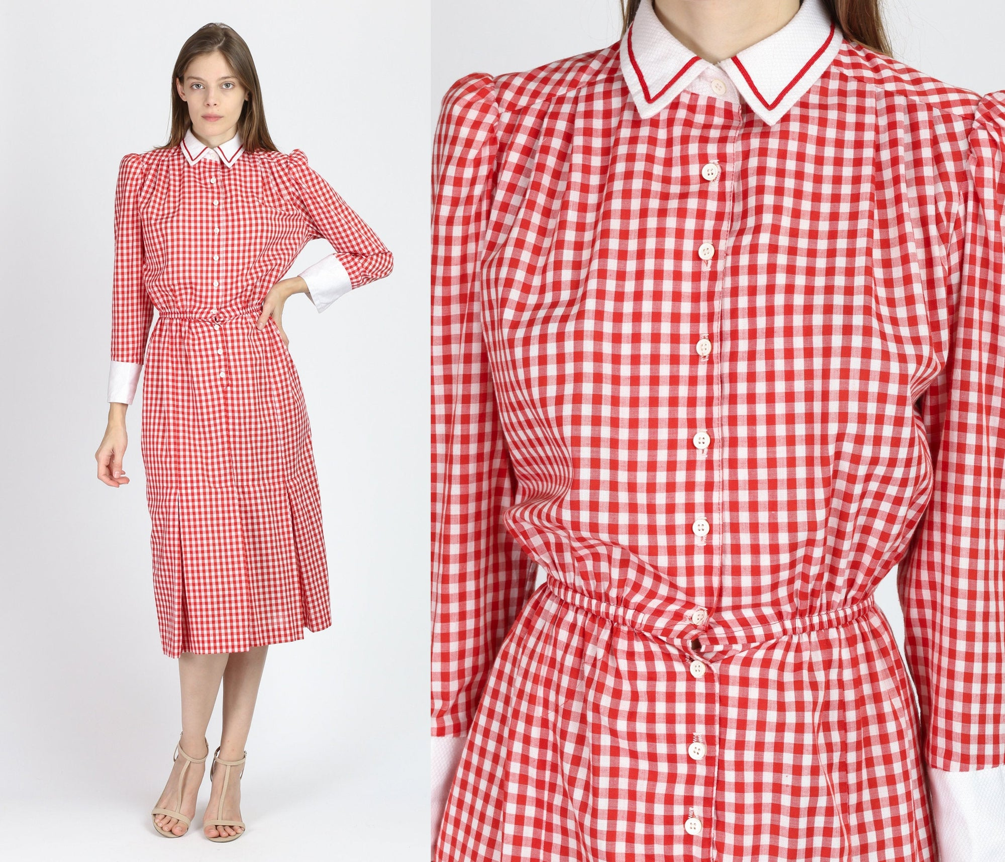80s Red & White Gingham Dress - Extra Small