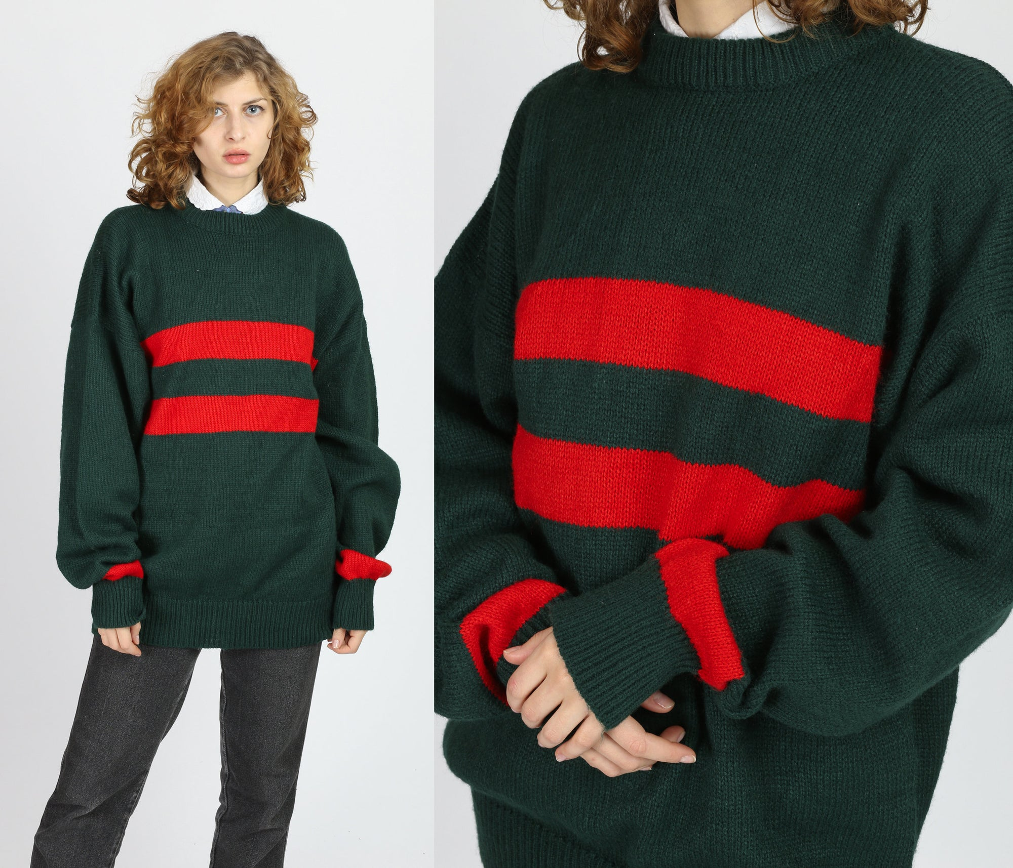 80s Oversize Slouchy Striped Sweater - Extra Large