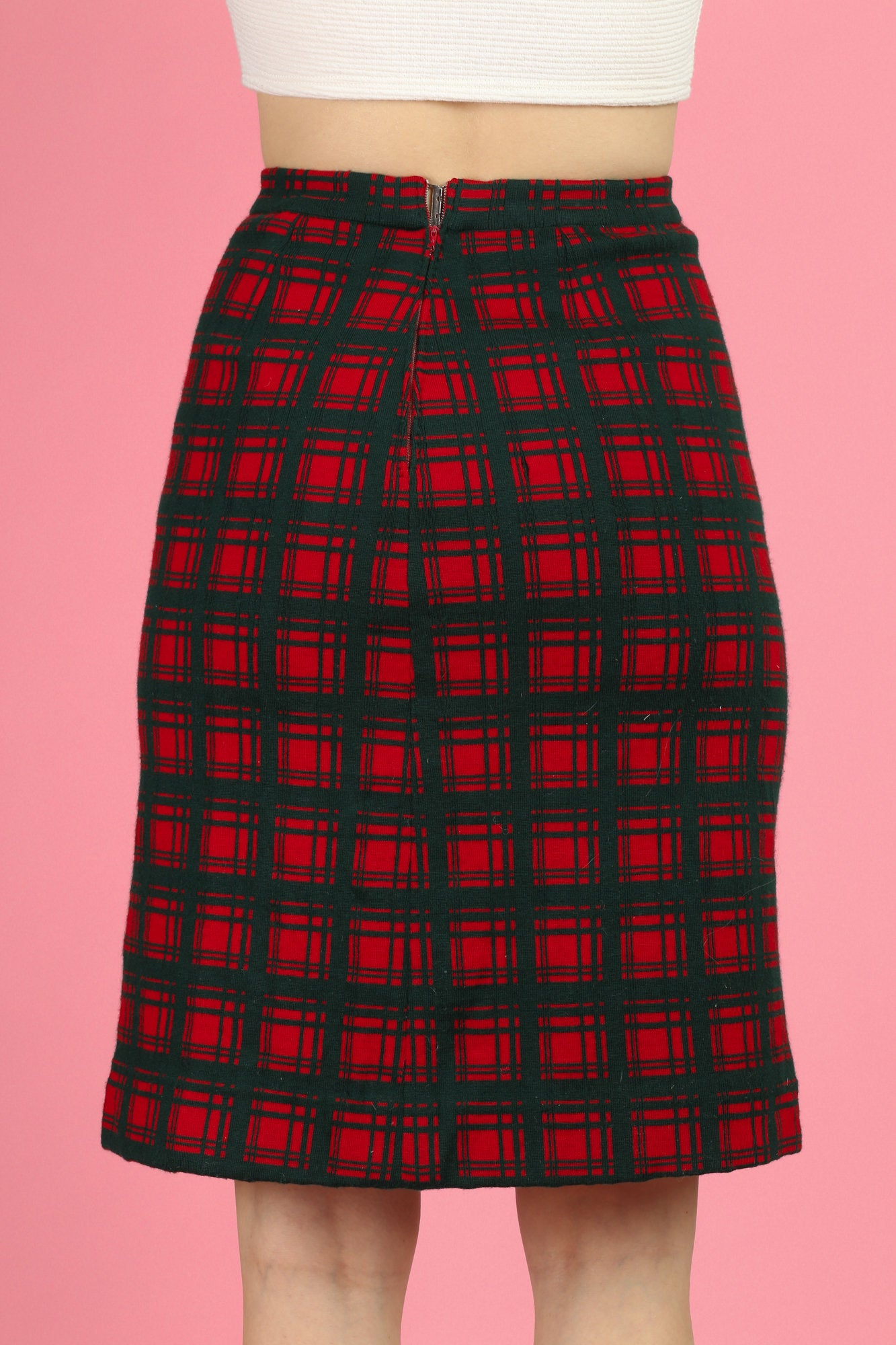 60s I. Magnin Plaid Pencil Skirt - Extra Small