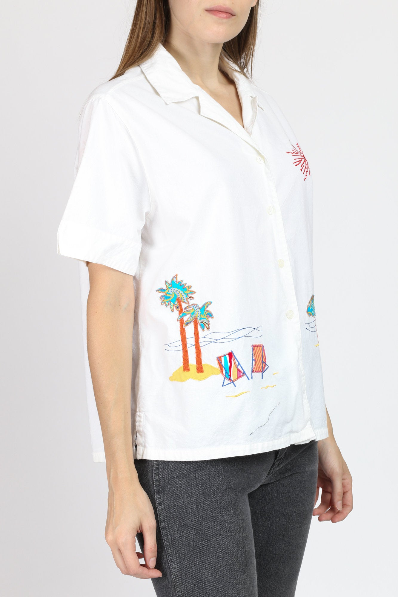 90s White Cotton Beach Shirt - Large
