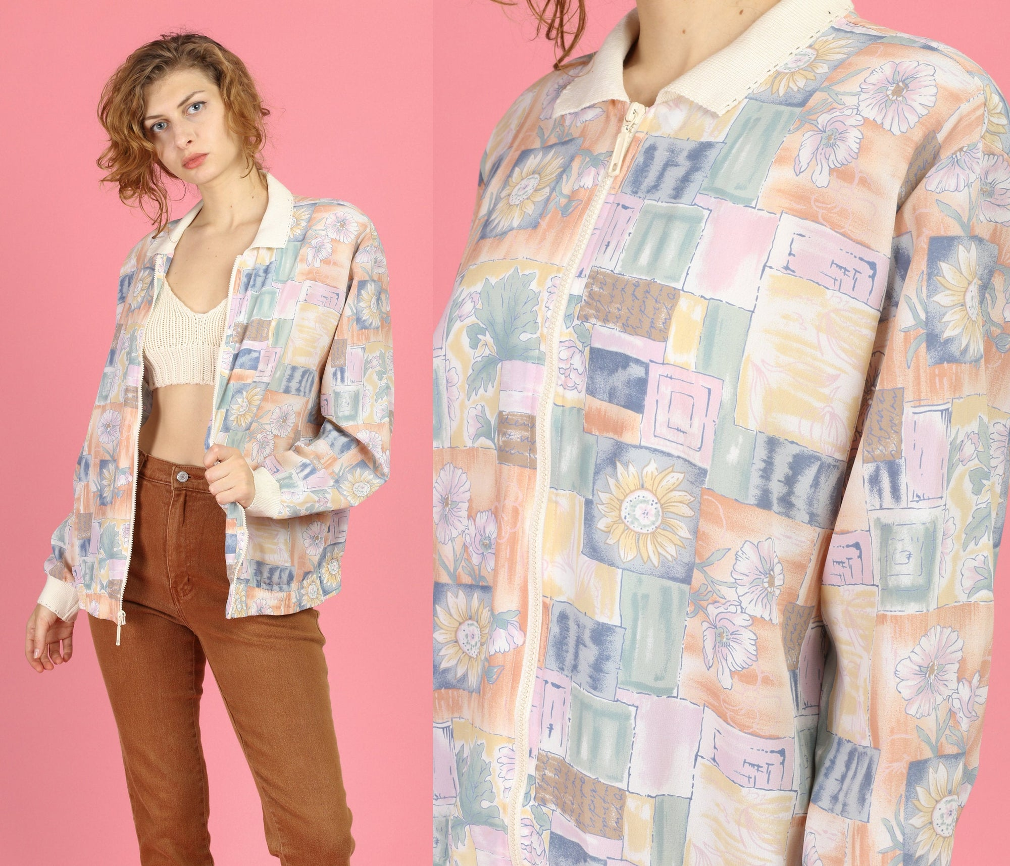 80s Pink Patchwork Windbreaker - Large