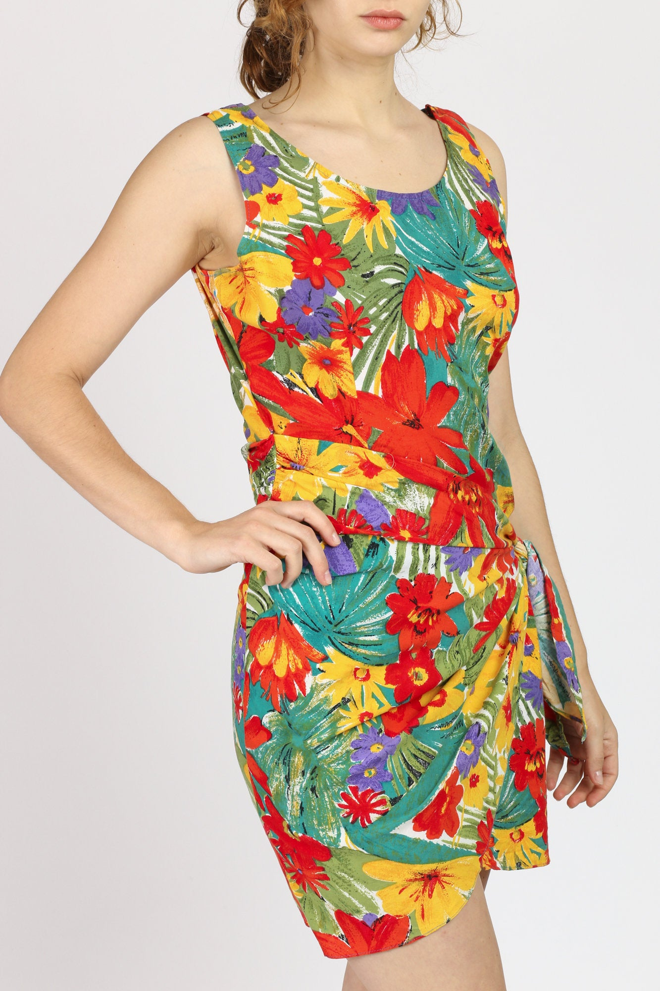 90s Tropical Floral Mini Dress - Large