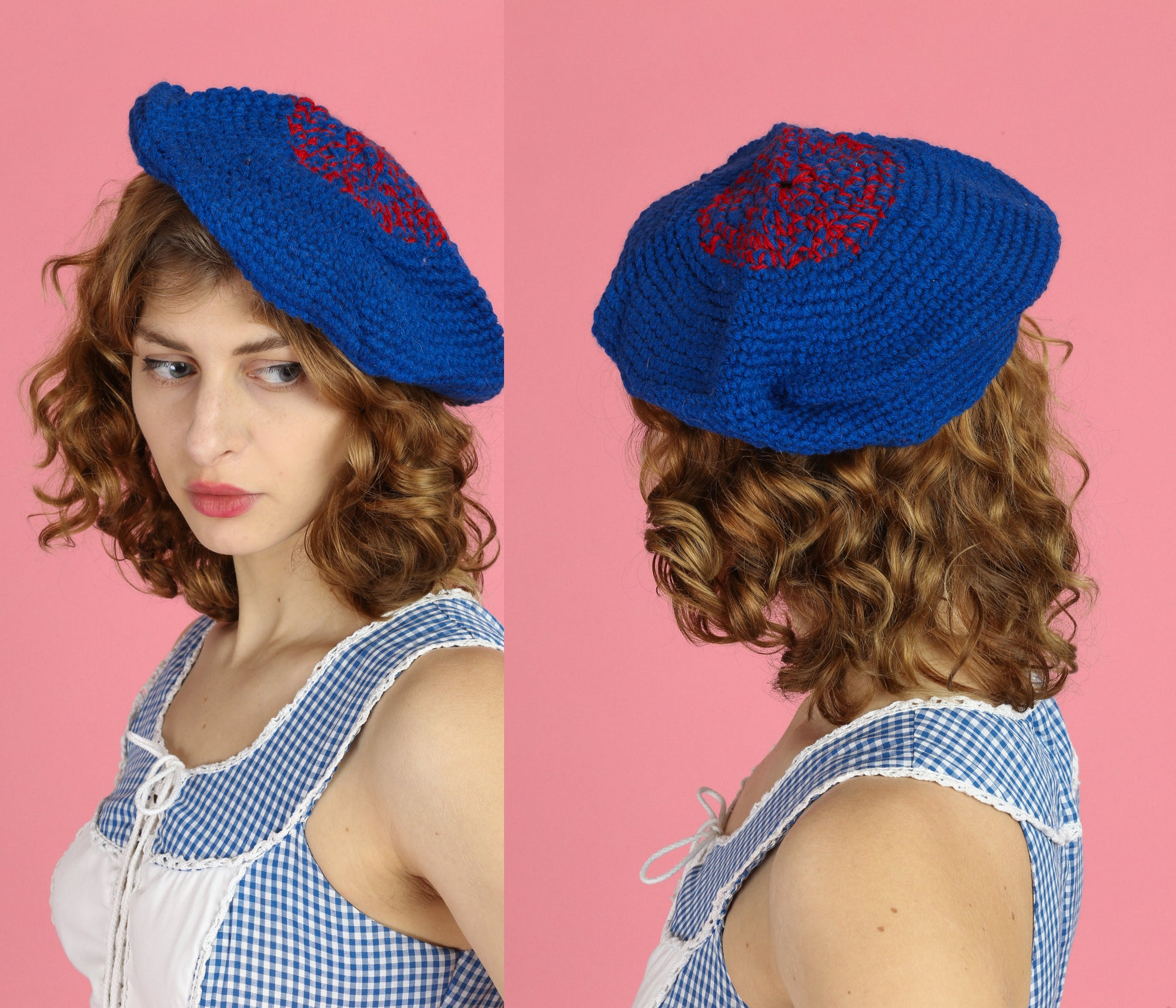 Vintage 70s Blue & Red Knit Beret - One Size