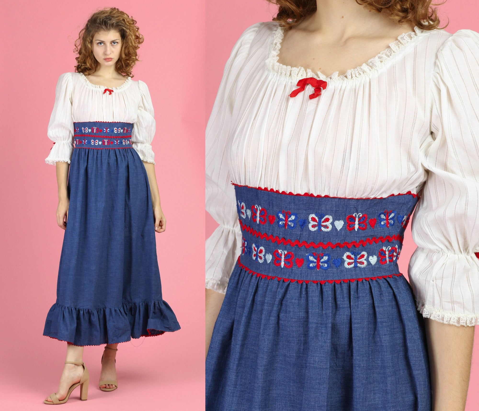 60s 70s Boho Butterfly Peasant Dress - Small