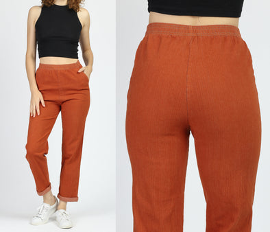 90s Burnt Orange High Waist Pants - Small