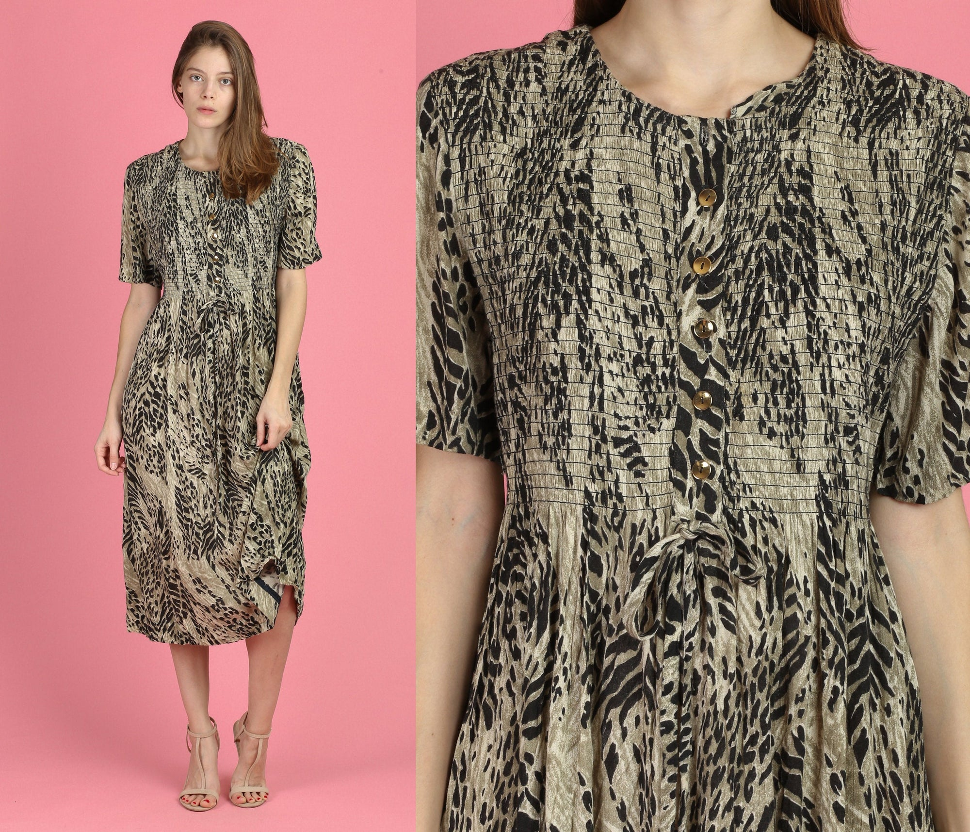 90s Animal Print Grunge Dress - Large