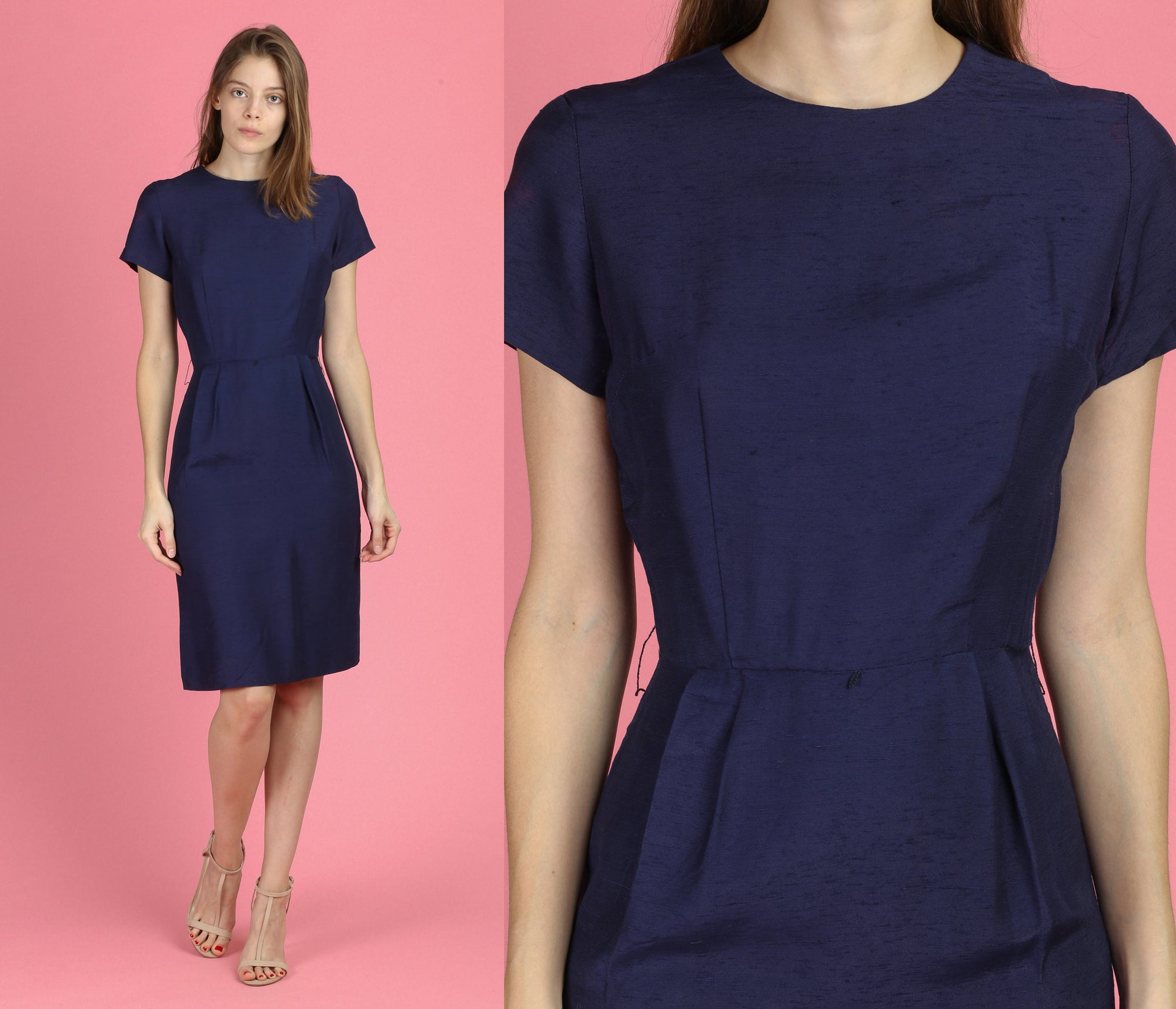 60s Navy Blue Sheath Wiggle Dress - XS to Small