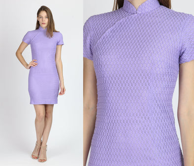 60s 70s Purple Knit Cheongsam Dress - Extra Small
