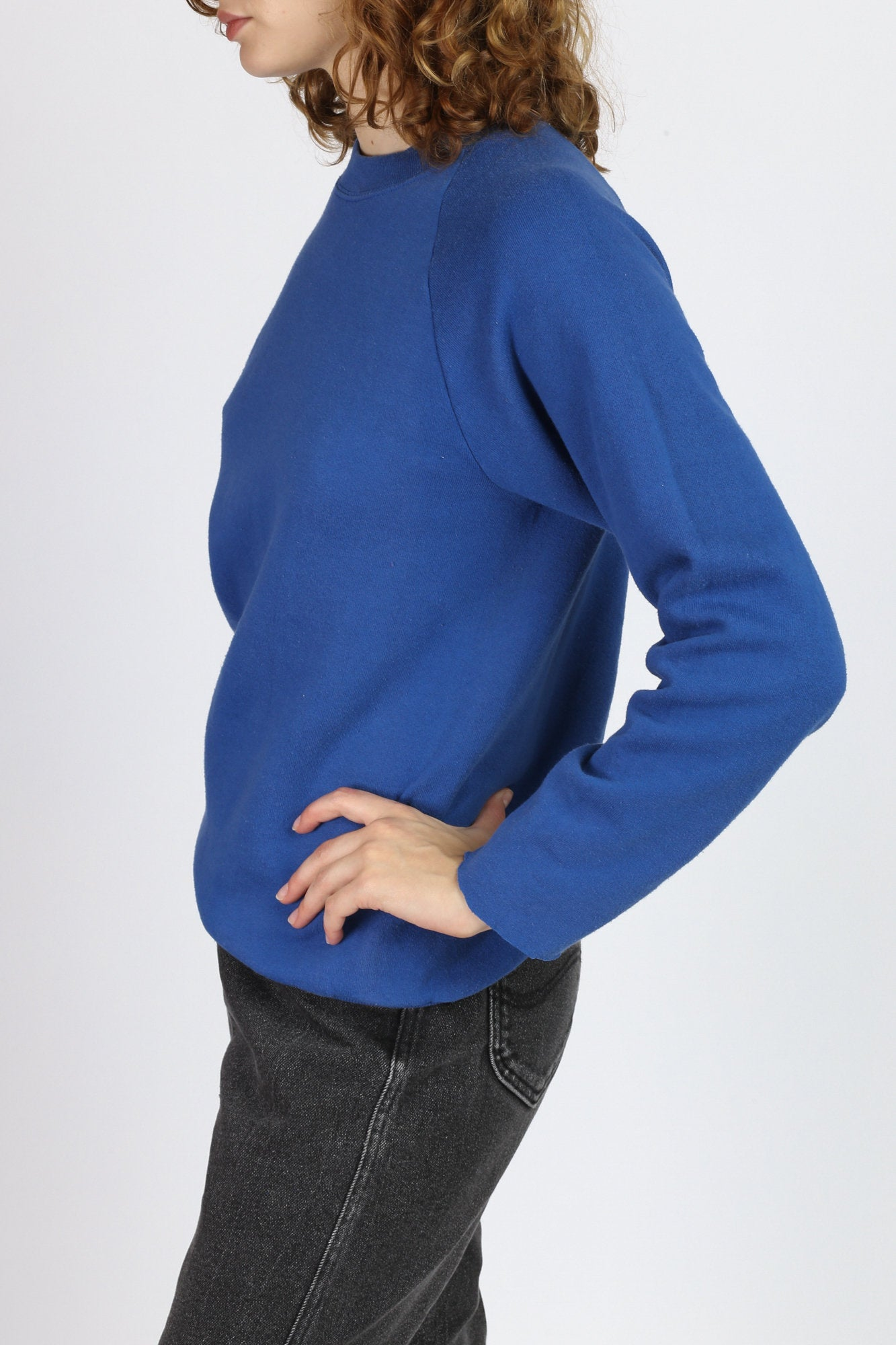 80s Plain Blue Raglan Sweatshirt - Medium