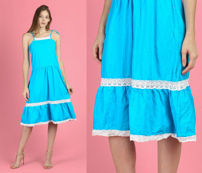70s Blue Crochet Mexican Dress - Petite XS