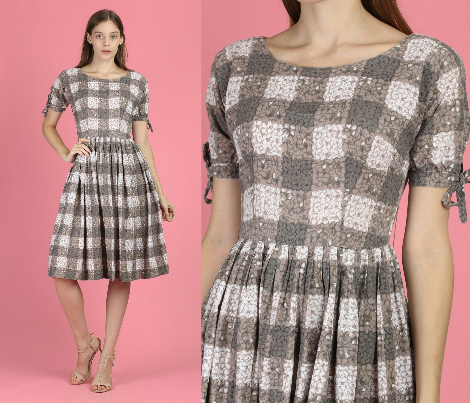 1960s Boho Floral Plaid Day Dress - XS to Small