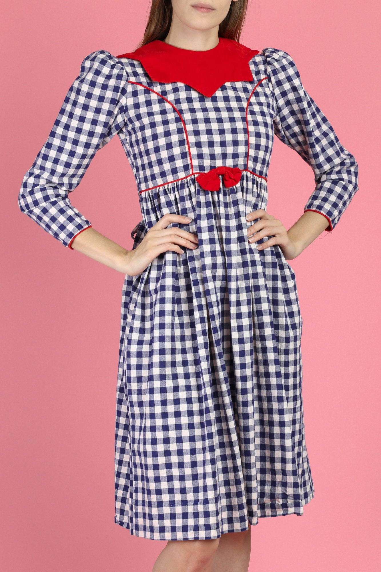 80s Red White & Blue Gingham Dress - Petite XS