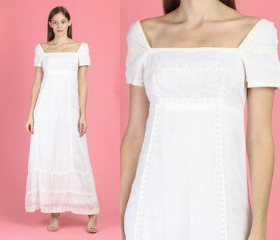 60s Boho White Column Maxi Dress - Extra Small