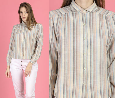 80s Striped Peter Pan Collar Blouse - Medium