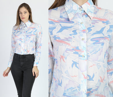 70s Seagull & Sailboat Novelty Print Top - Medium