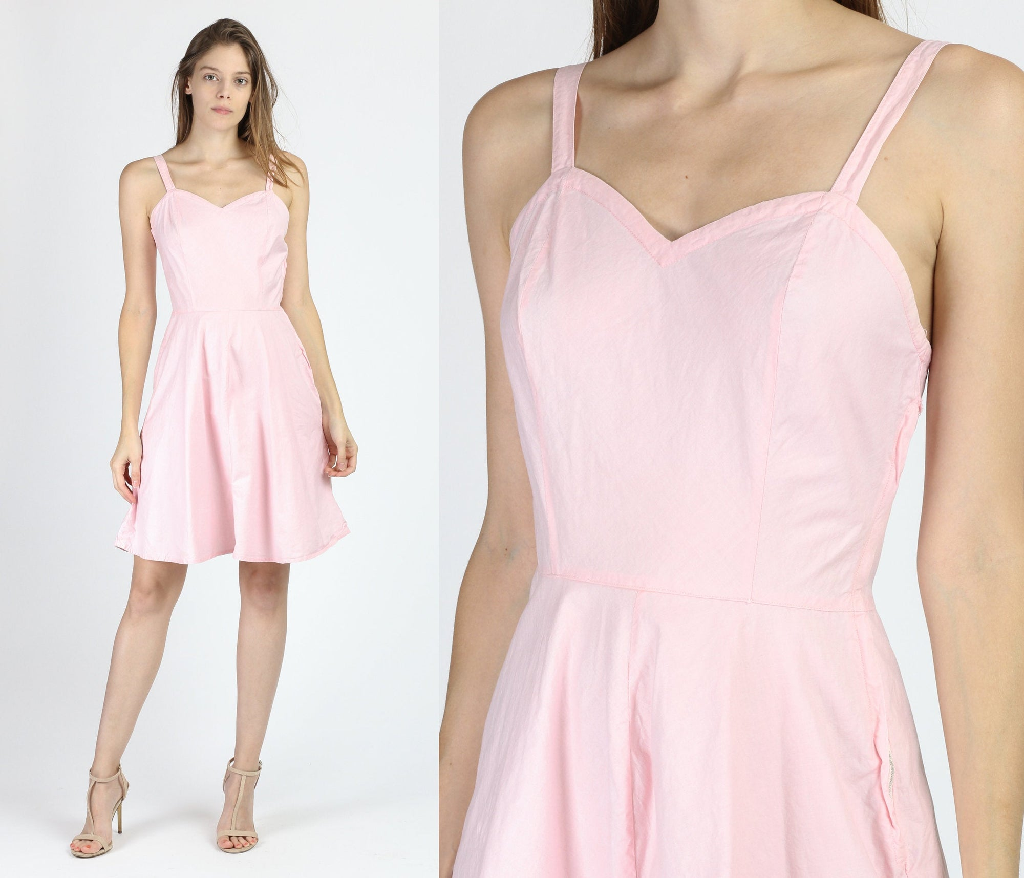 40s 50s Pink Cotton Slip Dress - XS to Small