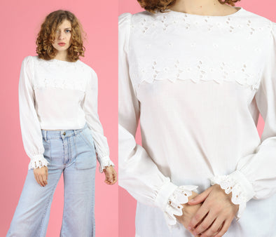 80s White Eyelet Bib Blouse - Large