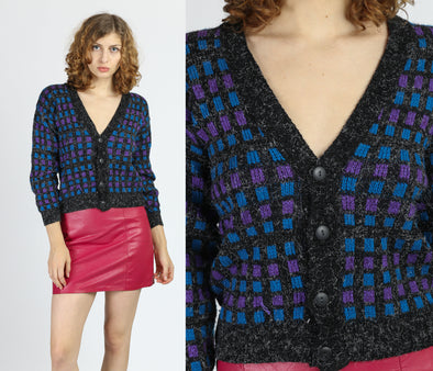 Vintage Plaid Cropped Knit Cardigan - Small