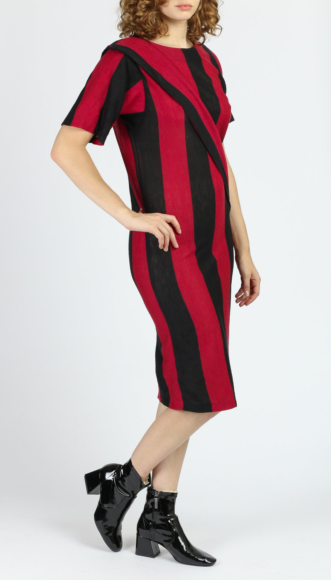 80s Red & Black Striped Side Tie Dress - Small to Medium