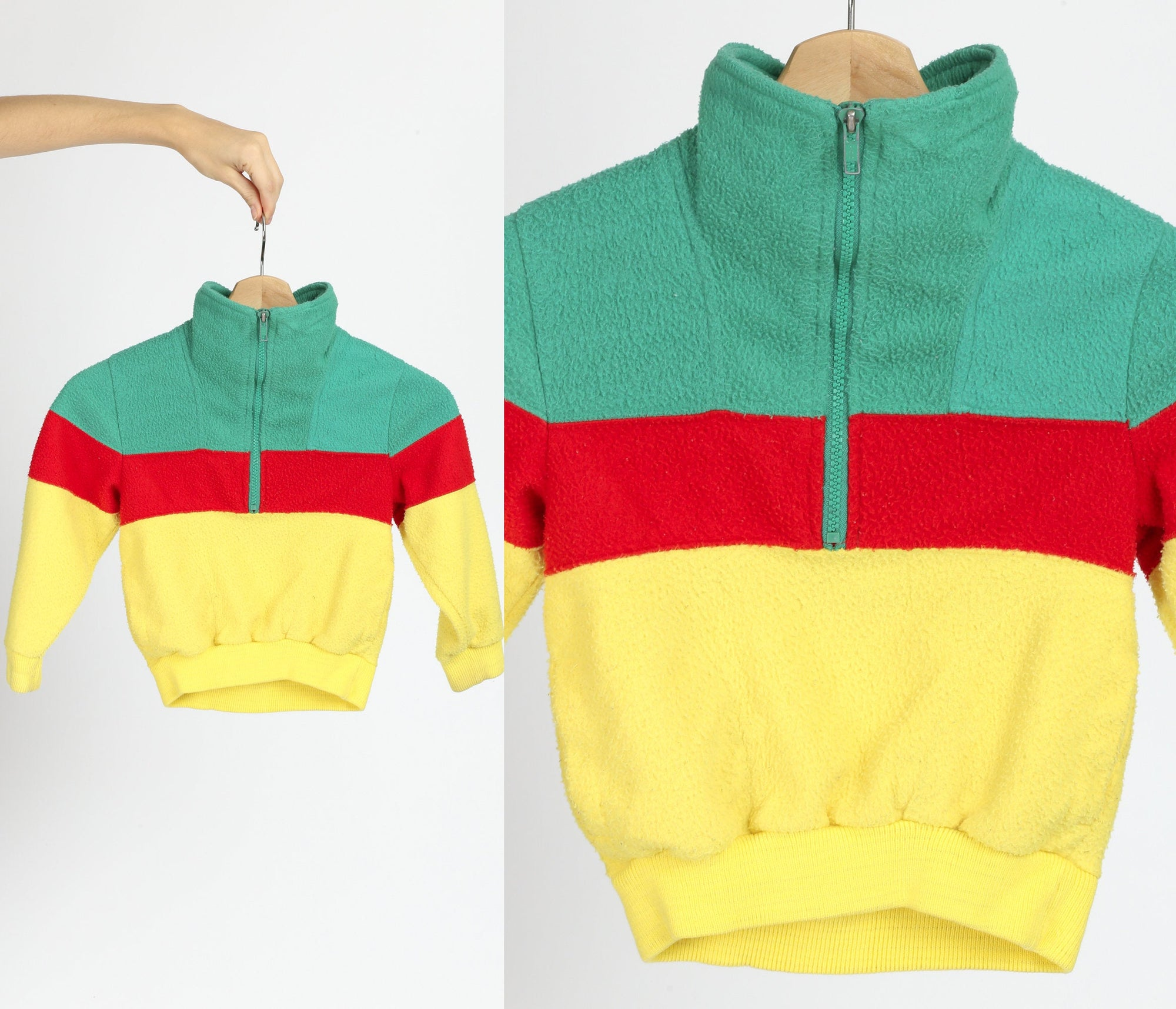 90s Kids Rasta Striped Fleece Jacket - Size 5