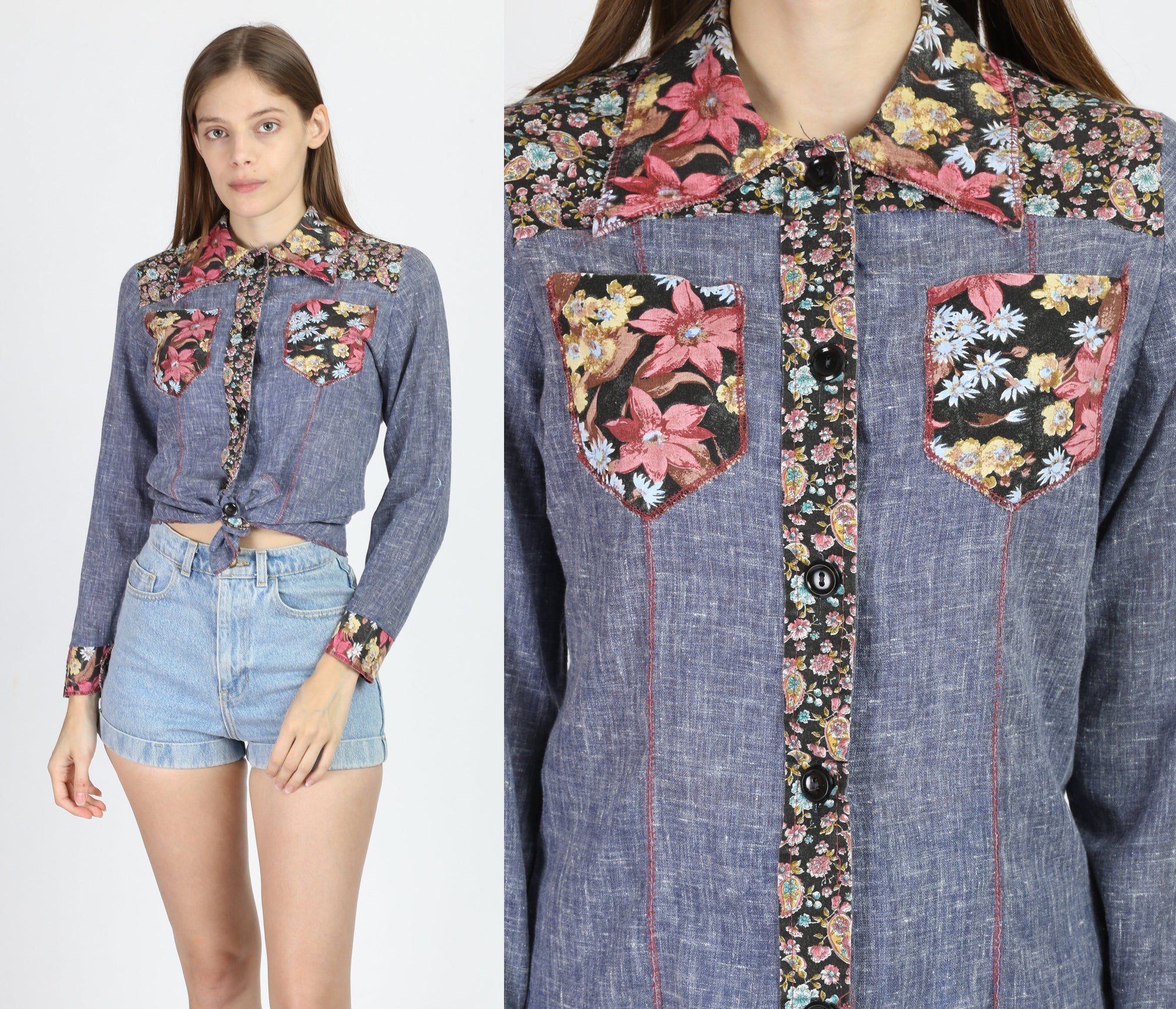 70s Floral Chambray Blouse - Small