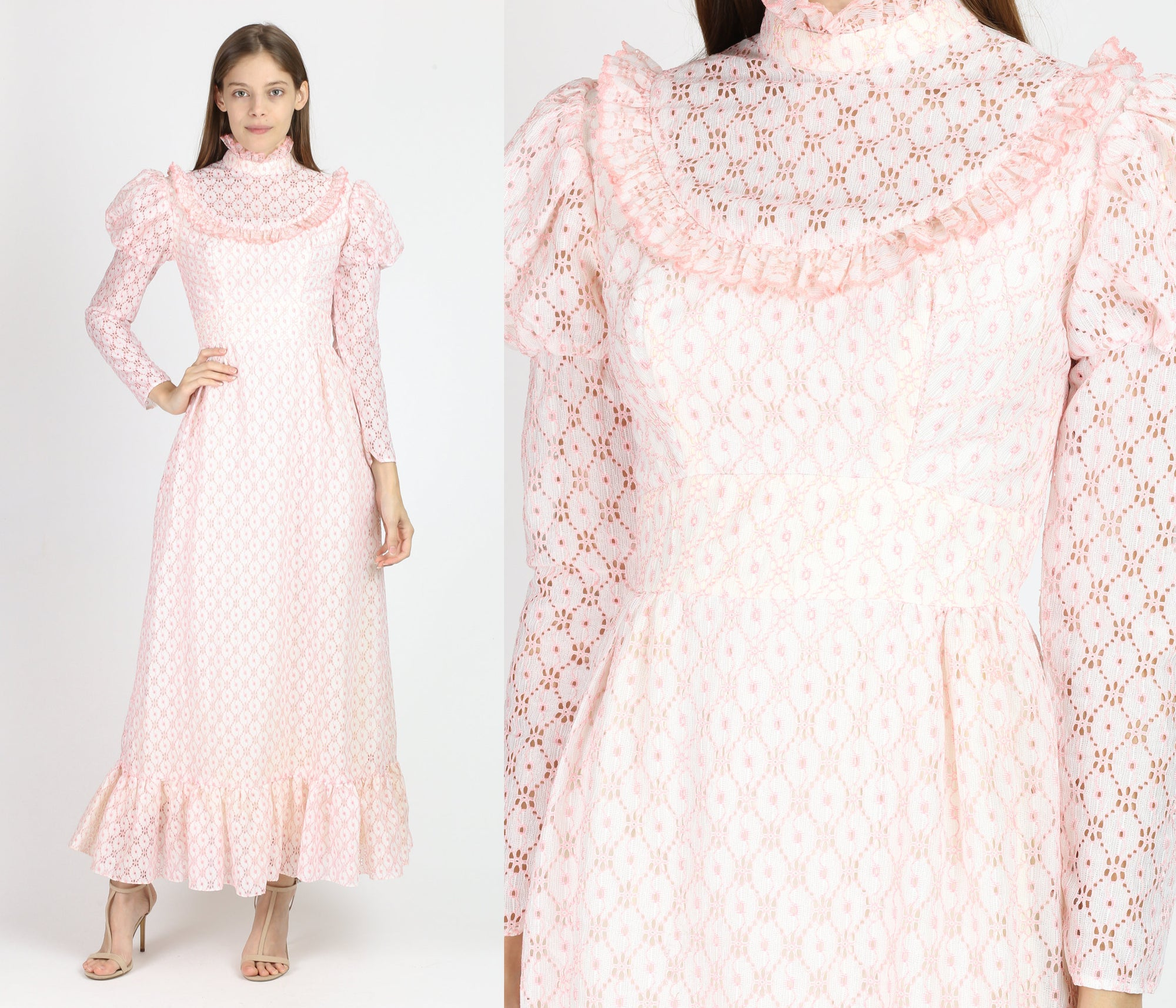 60s Pink Lace Juliet Sleeve Maxi Dress - Extra Small