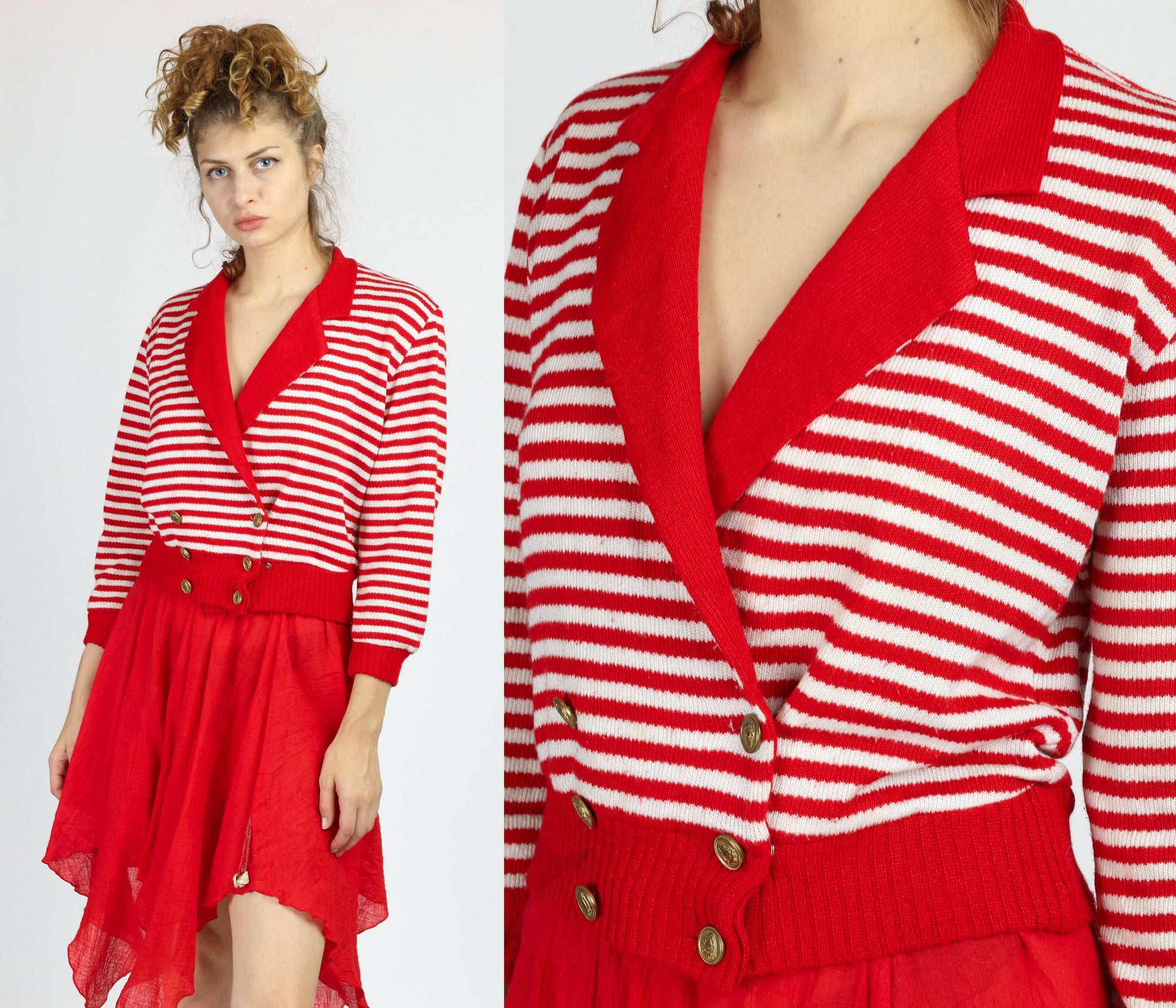 80s Red & White Nautical Striped Cropped Sweater - Small