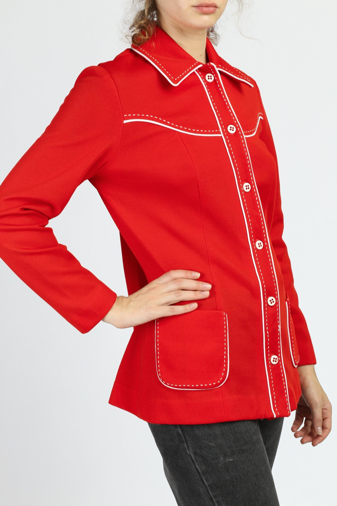 70s Mod Red Contrast Stitch Shirt - Medium