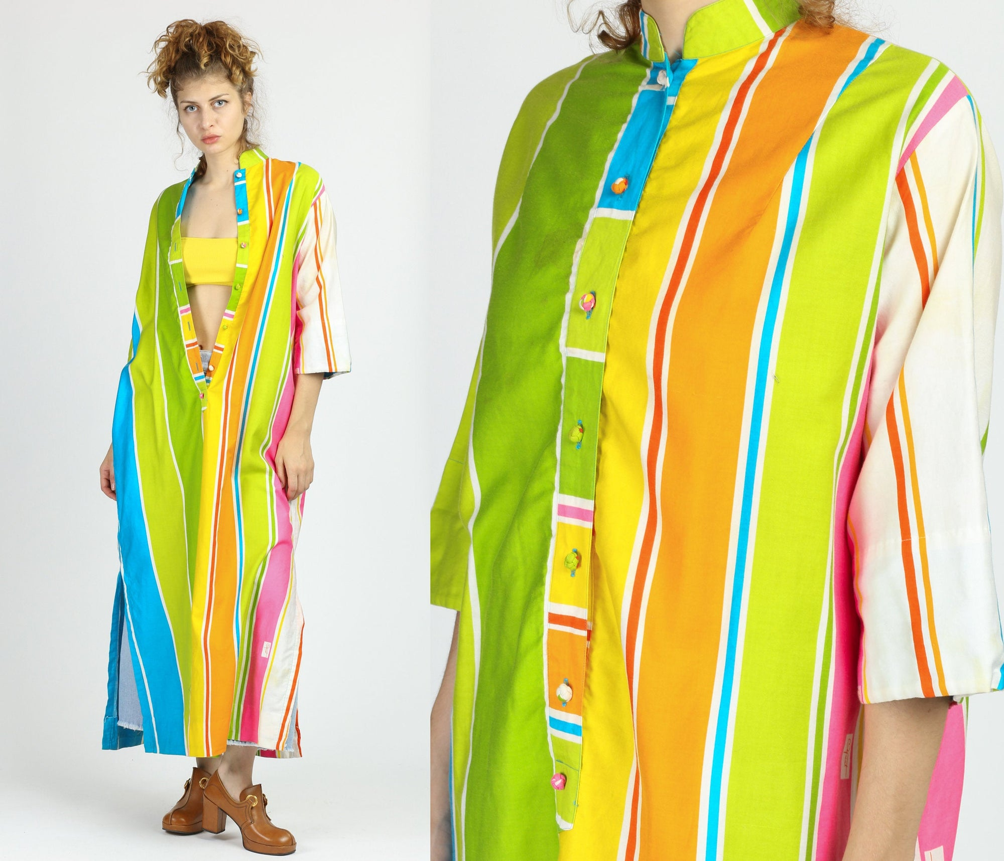 70s Catherine Ogust Rainbow Striped Tunic Dress - One Size