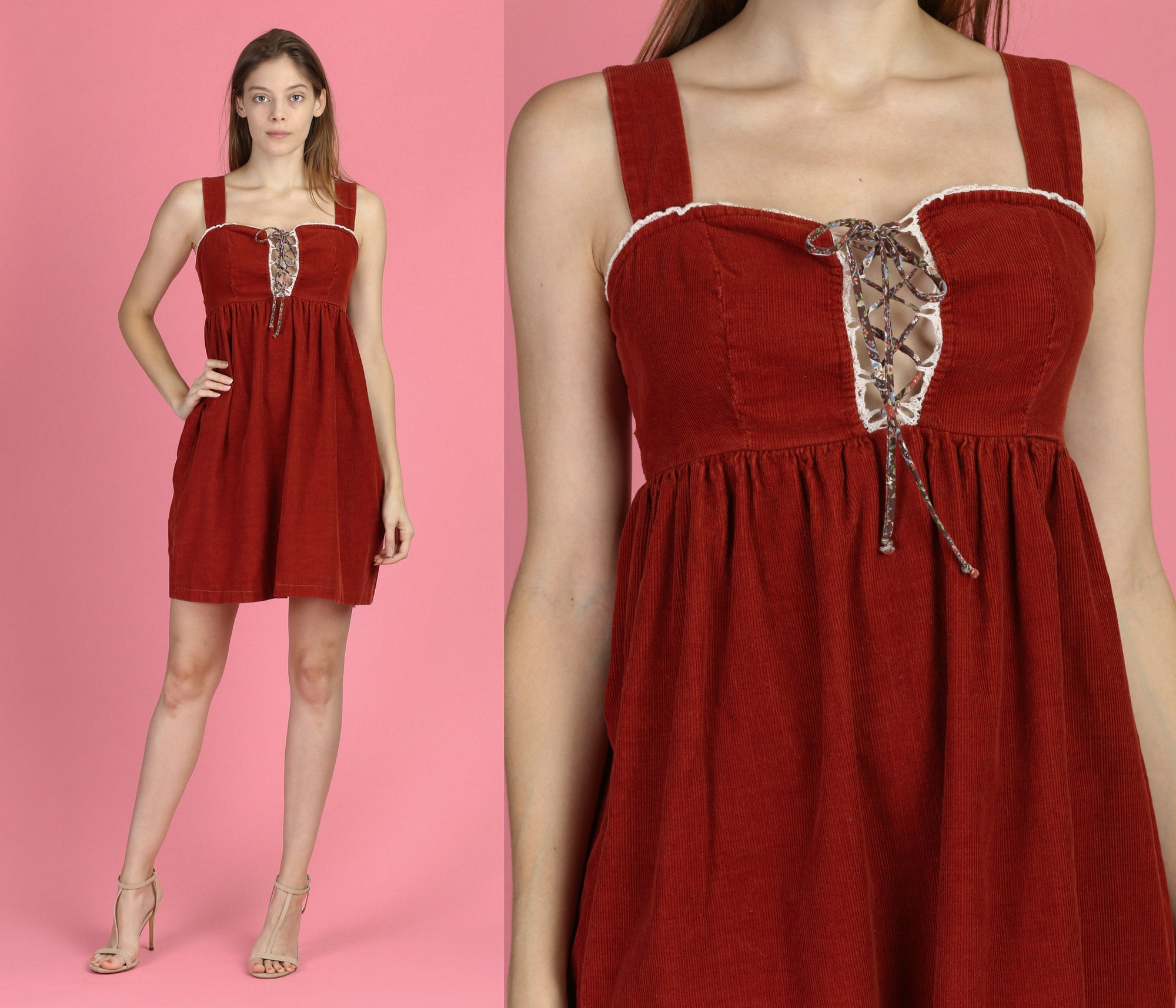 70s Boho Red Corduroy Mini Dress - Small