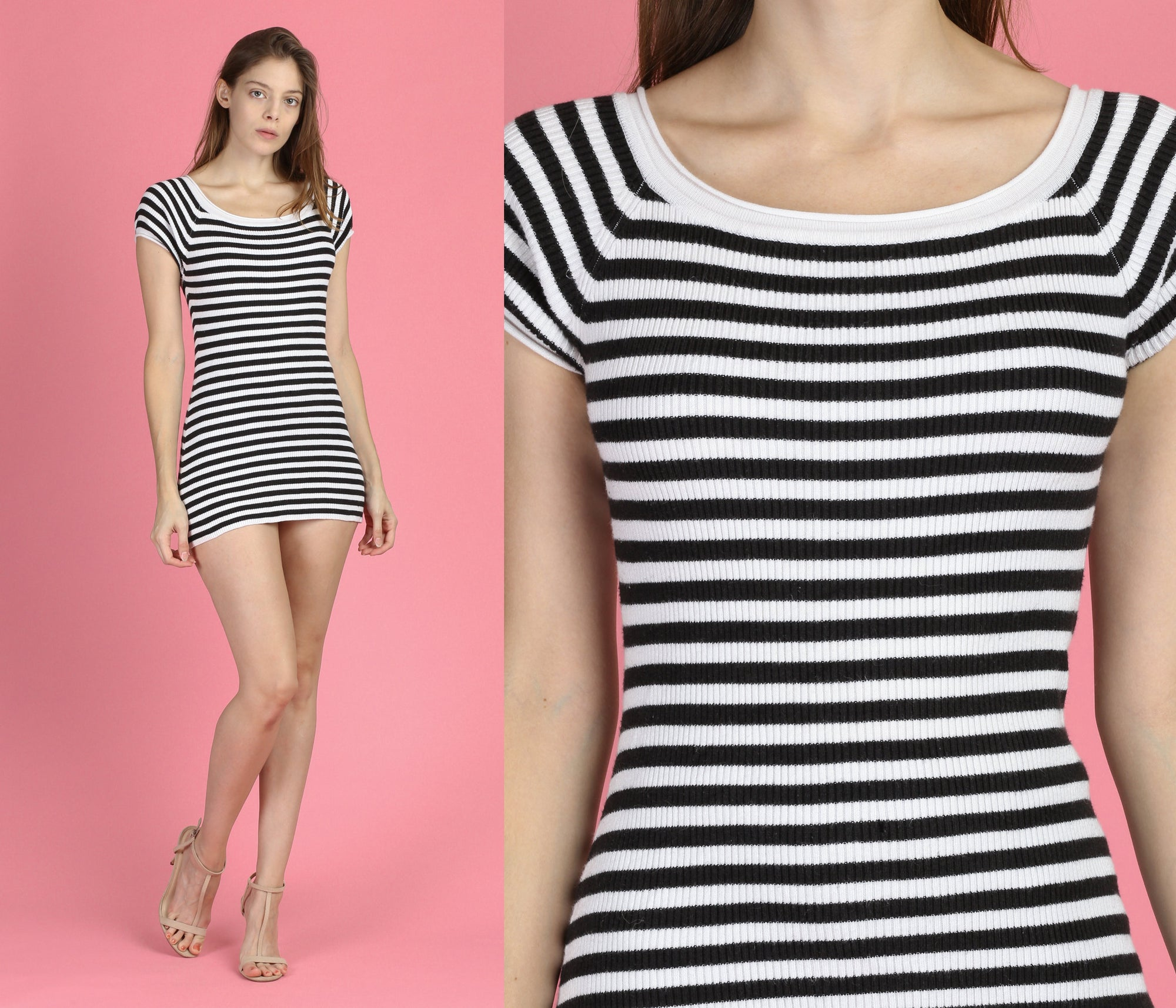 90s Black & White Striped Bodycon Mini Dress - Petite XS