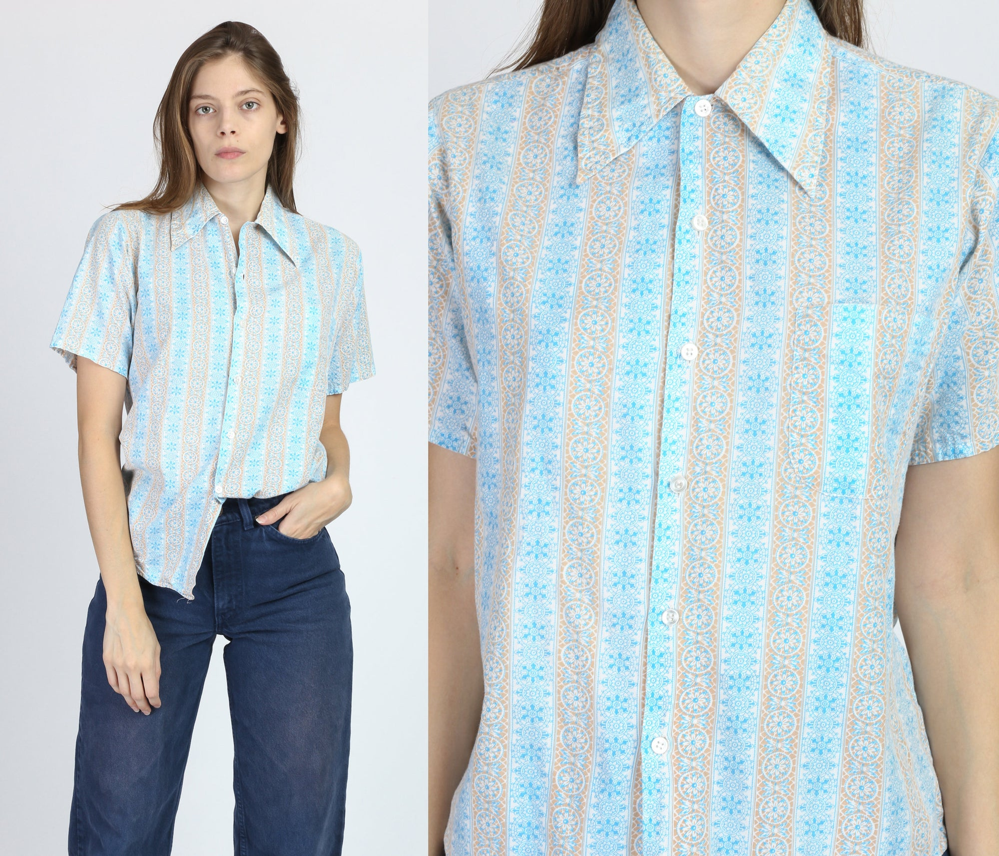 70s Blue Striped Button Up Shirt - Men's Small