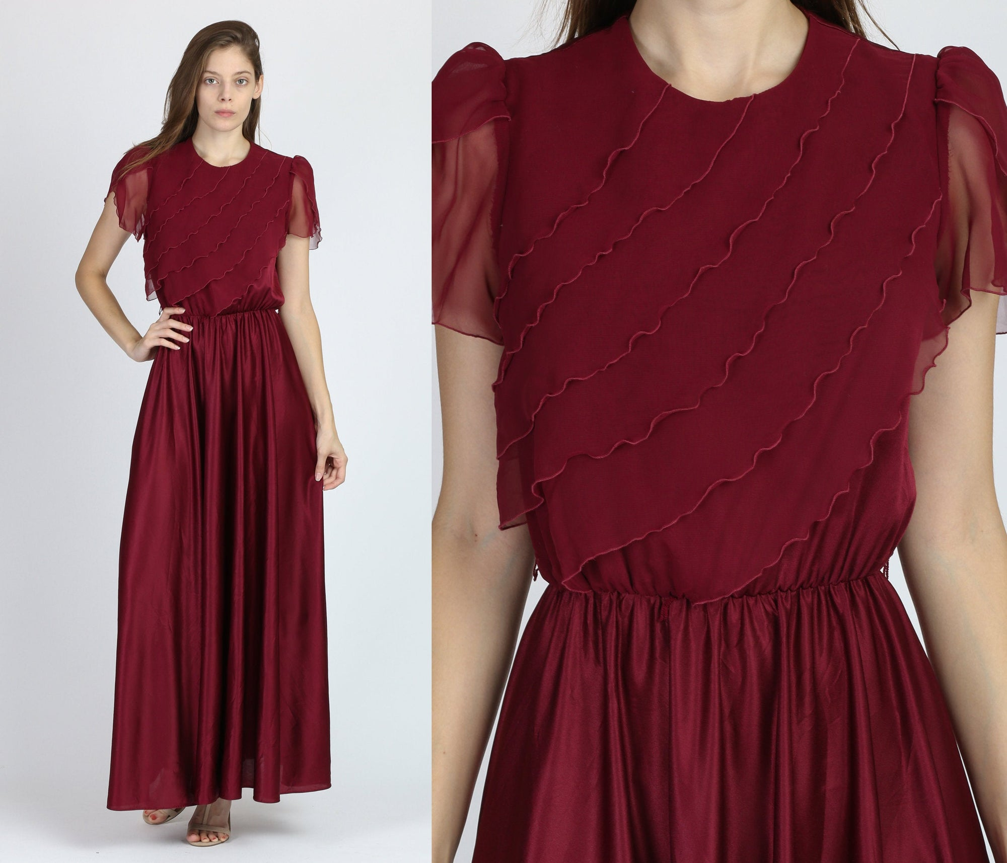 70s Boho Maroon Disco Gown - Small to Medium