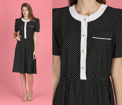 80s Black & White Polka Dot Dress - Large
