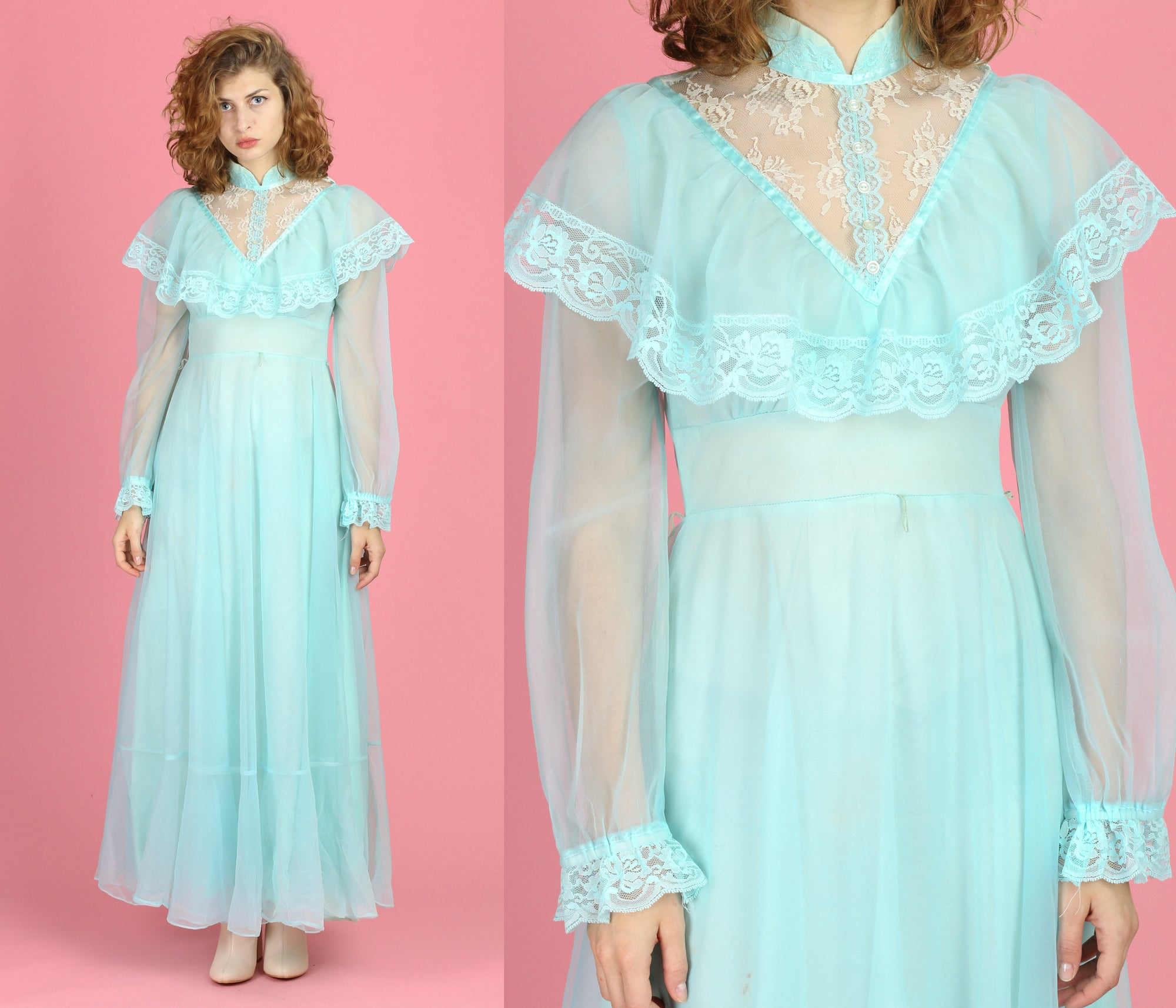 70s Blue Victorian Lace Trim Gown - Small to Medium