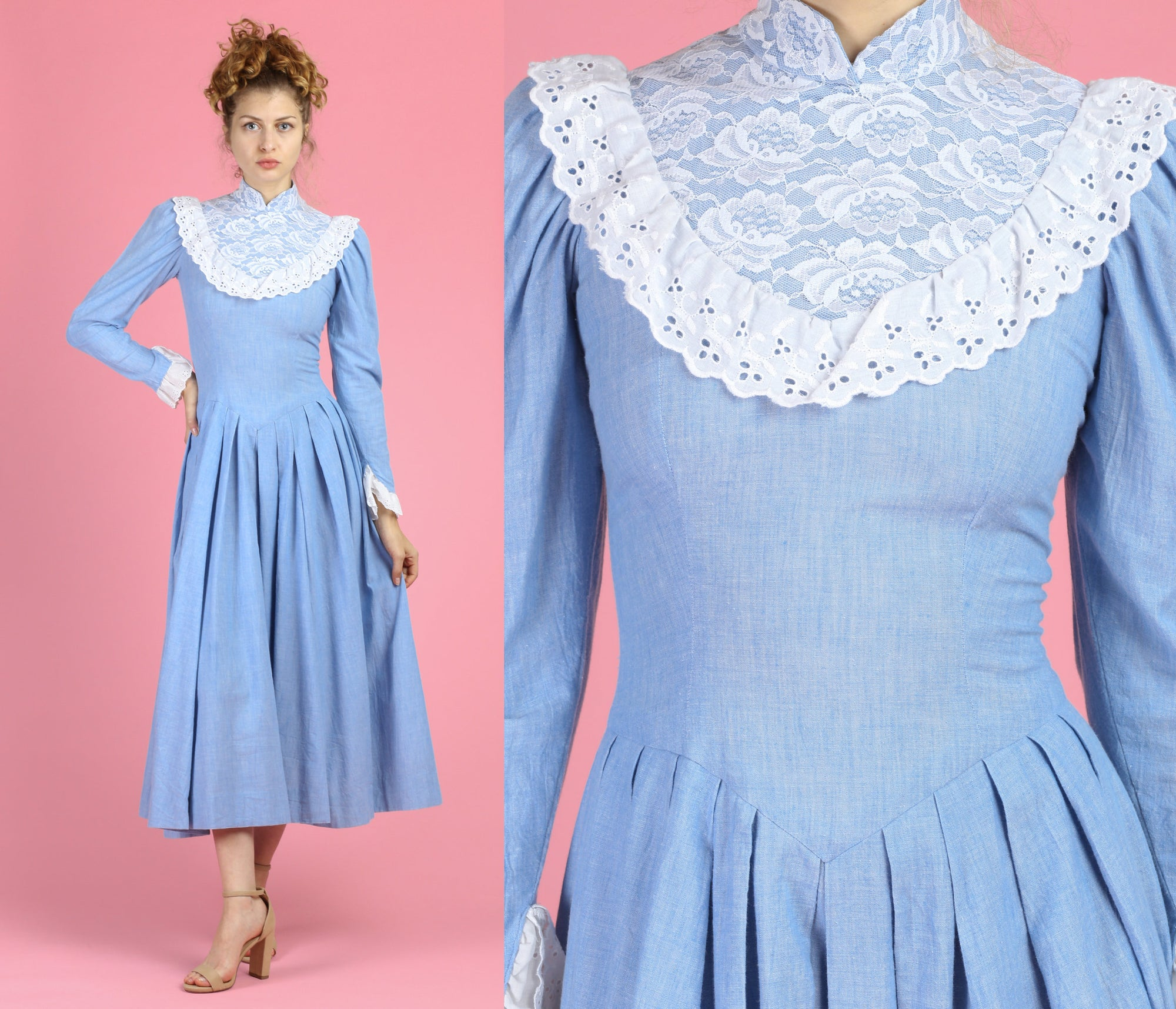 70s Victorian Chambray Lace Trim Gown - Extra Small