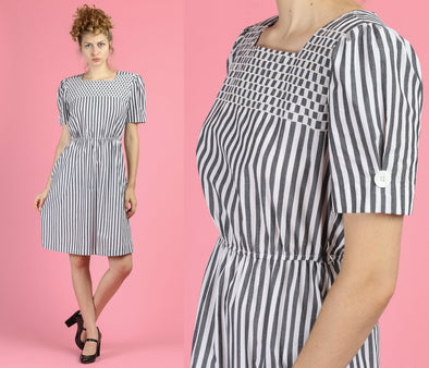 80s Striped Pocket Mini Dress - Medium