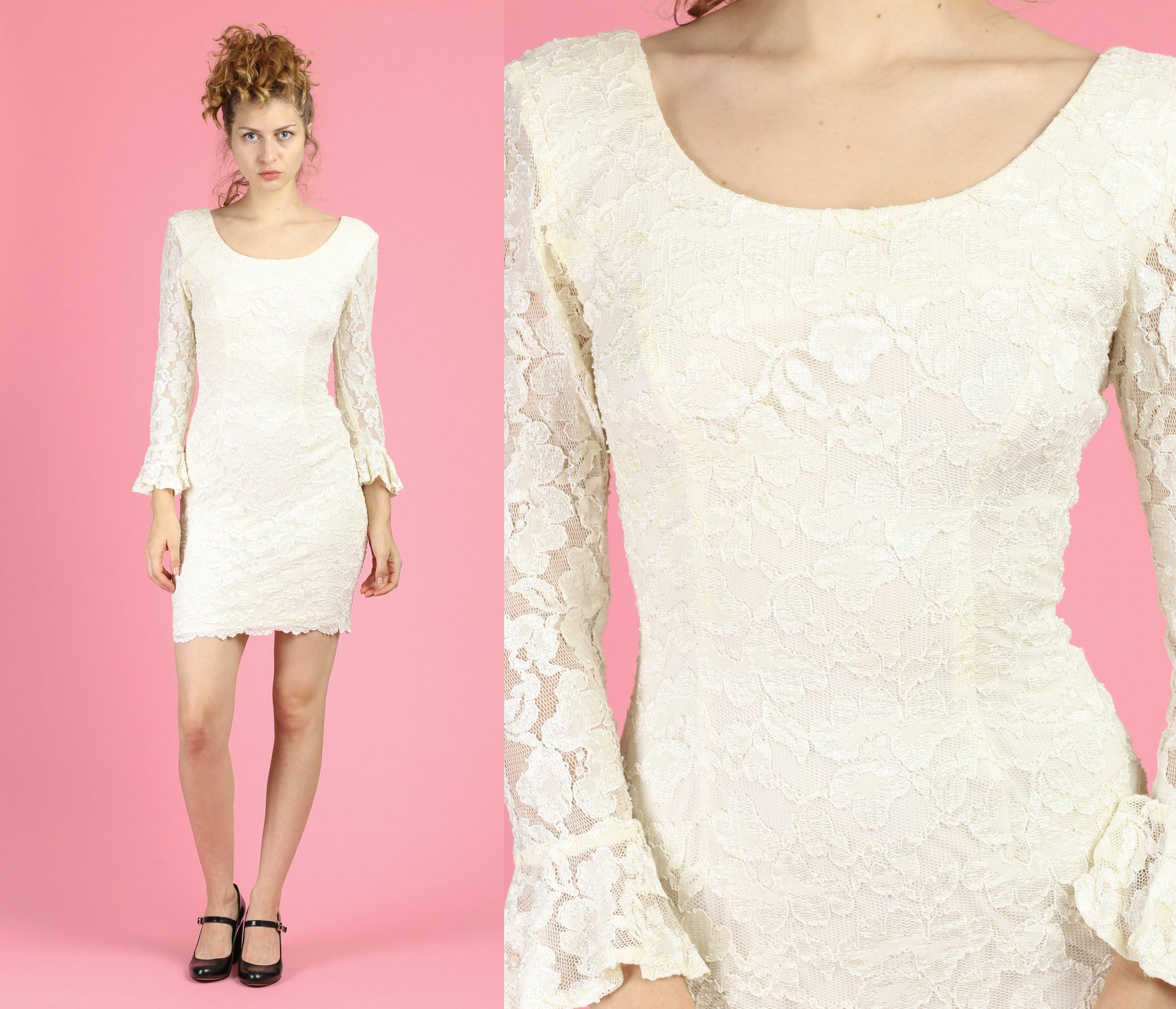 80s Ivory Floral Lace Party Dress - Extra Small