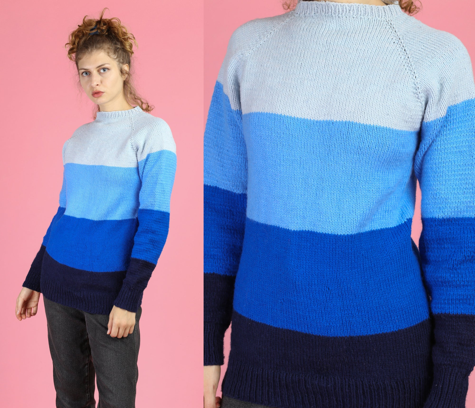 70s Blue Striped Hand Knit Sweater - Small