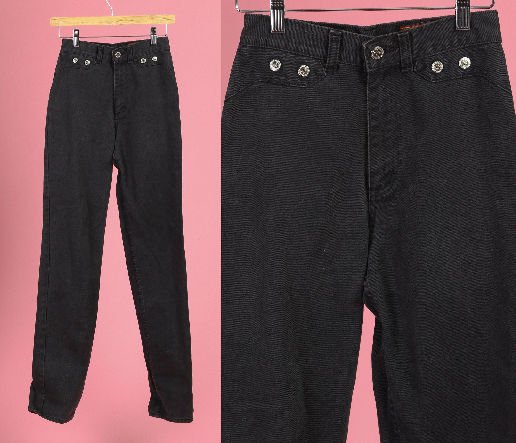 80s Black Denim High Waist Western Jeans - Extra Small