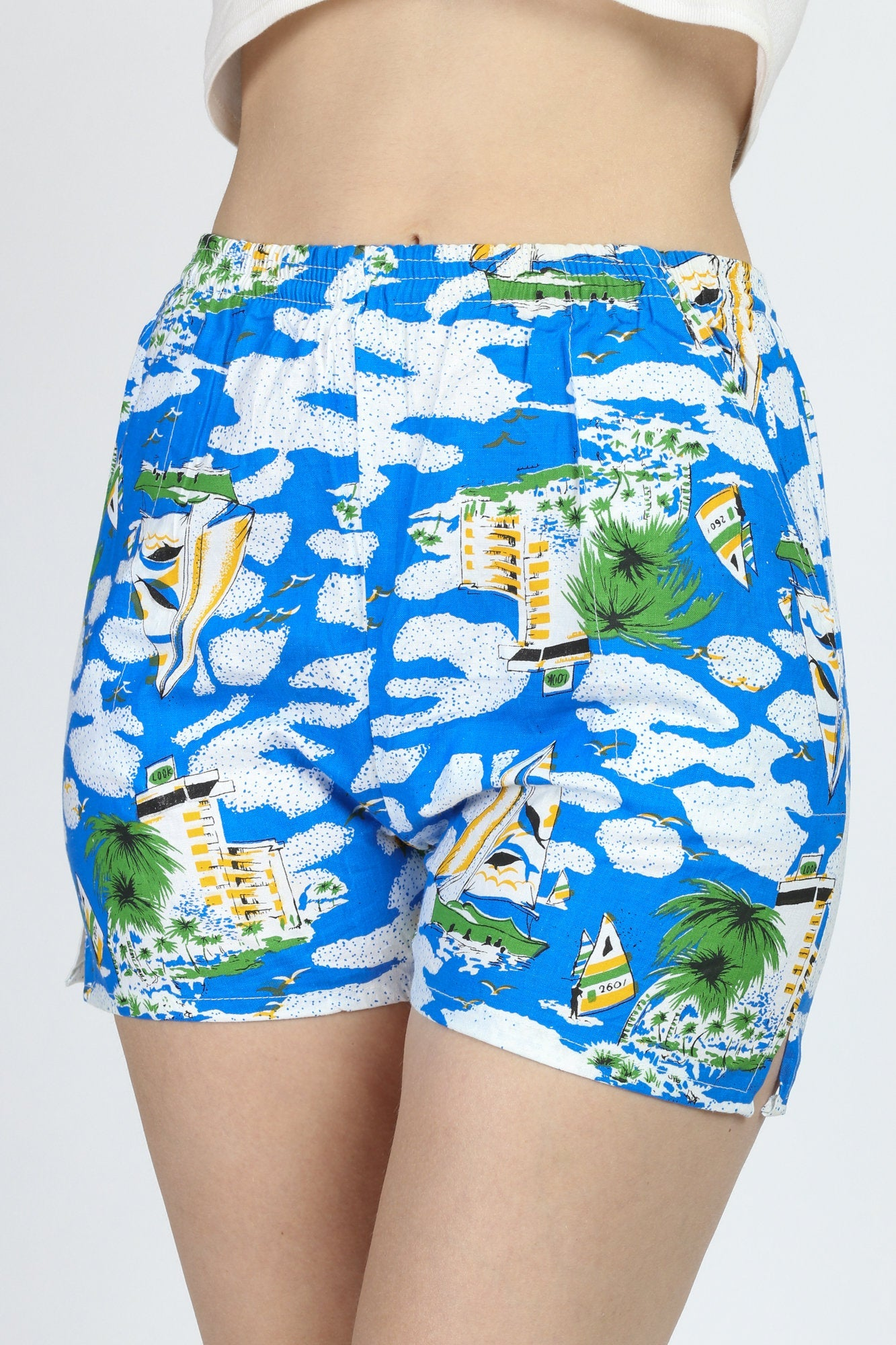 Vintage Sailboat & Palm Tree Beach Shorts - XS to Small