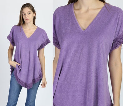 70s Purple Terrycloth Fringe Poncho Top - One Size