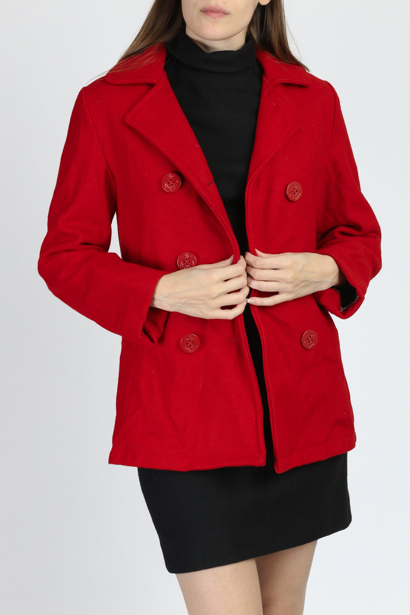 60s Red Mod Double Breasted Pea Coat - Small