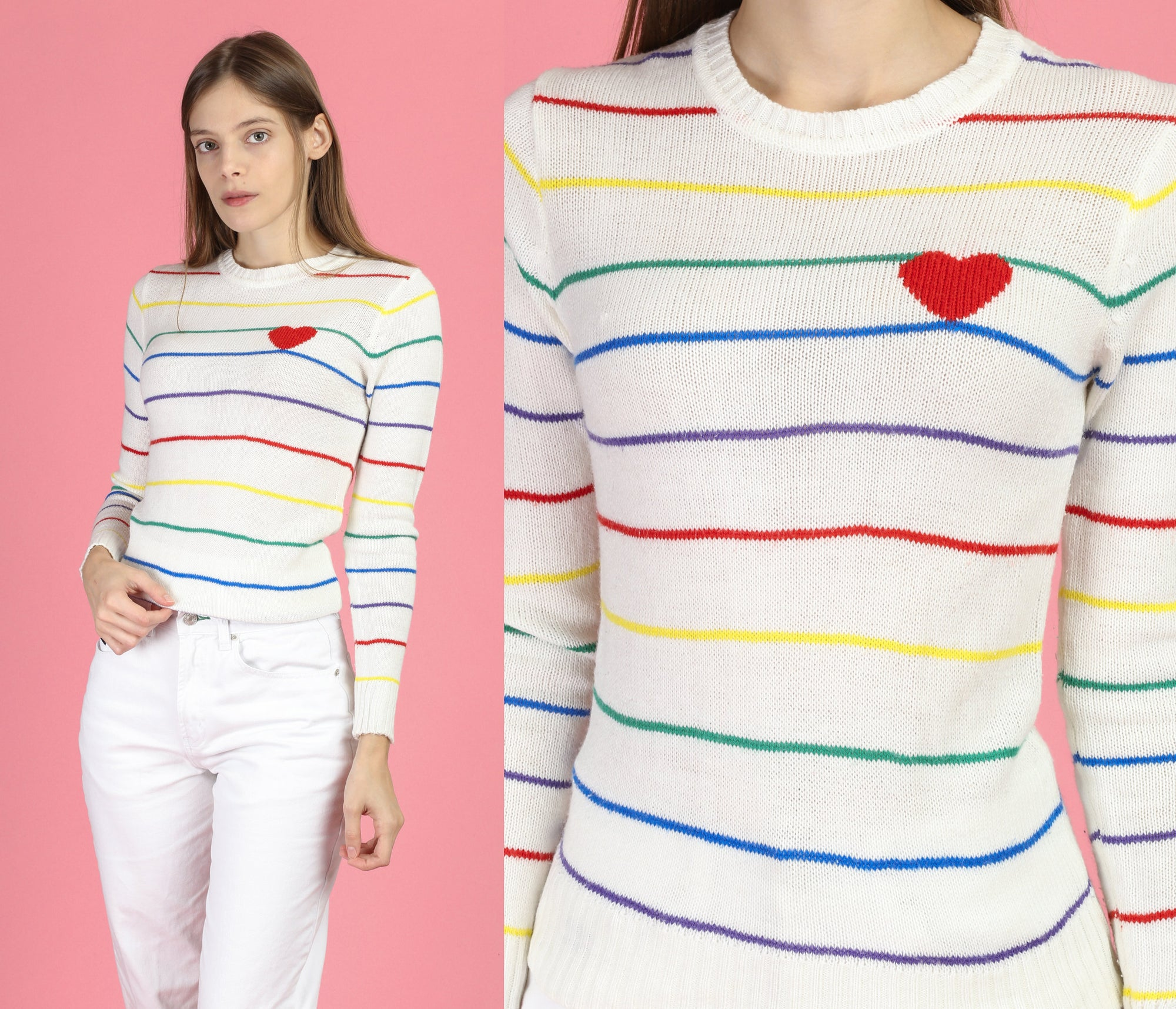 Vintage Rainbow Stripe Heart Sweater - XS to Small