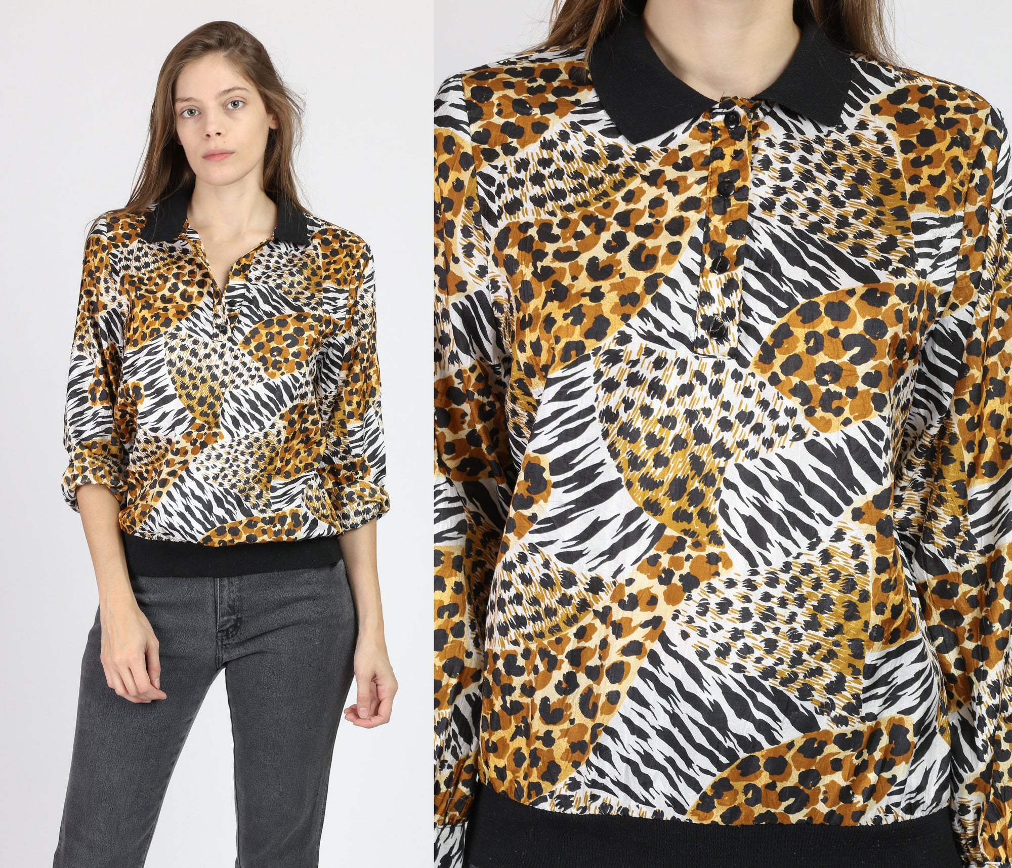 80s Animal Print Collared Top - Small
