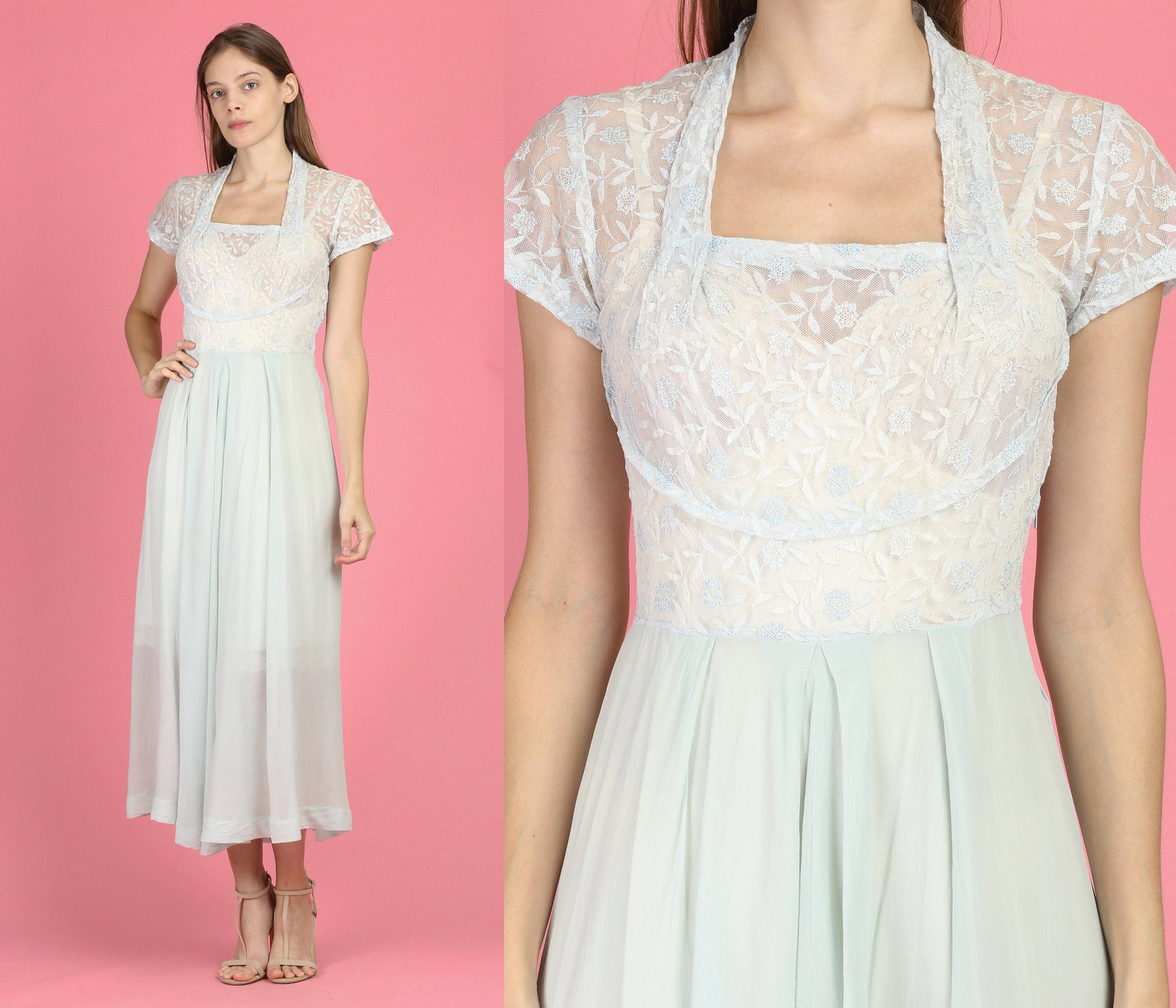 Vintage 1930s Sheer Blue Lace Bodice Dress - Small
