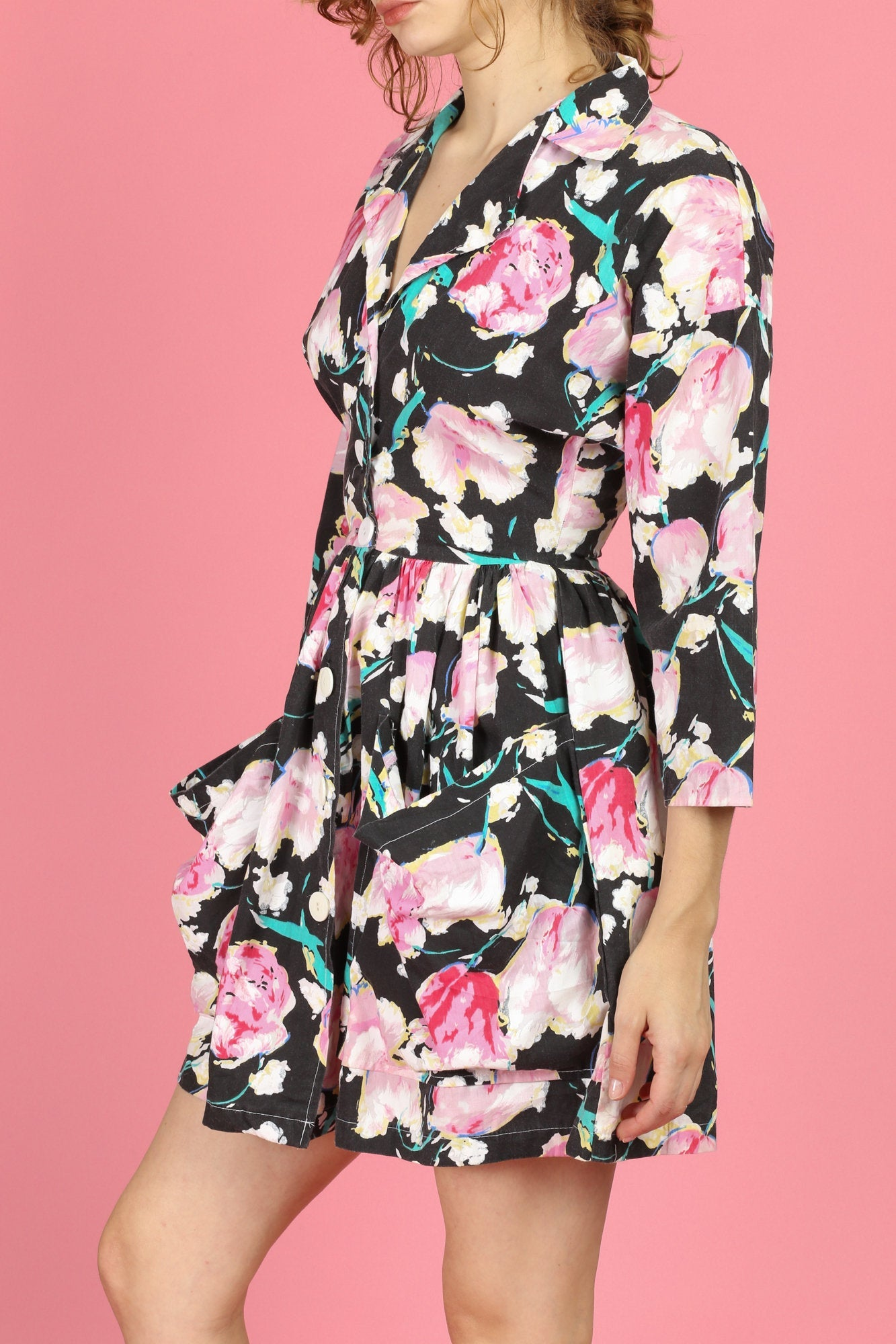 Vintage Floral Fit & Flare Dress - Extra Small